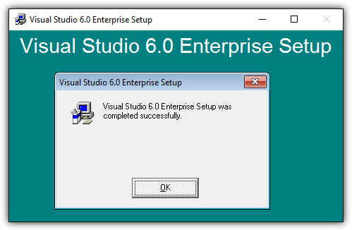 visual studio setup completed successfully