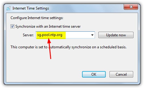 internet time settings pool server
