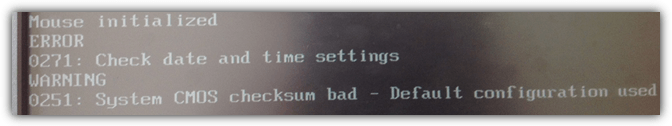 system cmos checksum bad