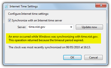 windows time error