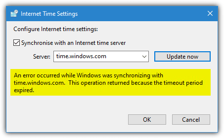 Internet time settings error