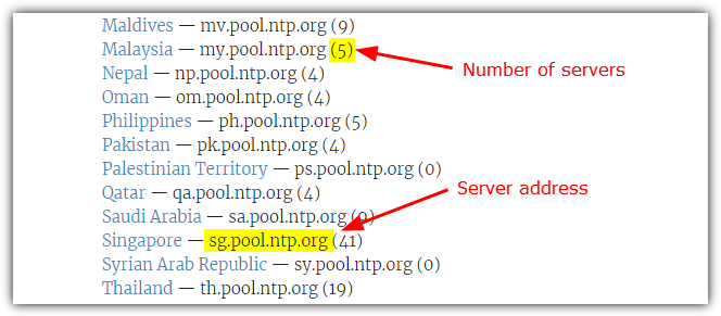 Ntp pool servers list