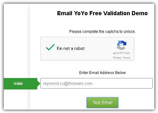 email yoyo free validation demo