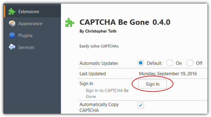 signin captcha be gone