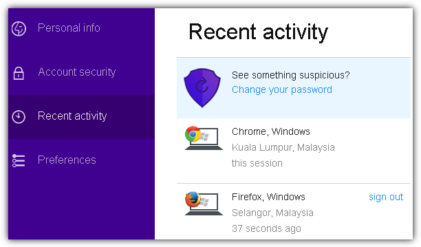 yahoo recent login activity