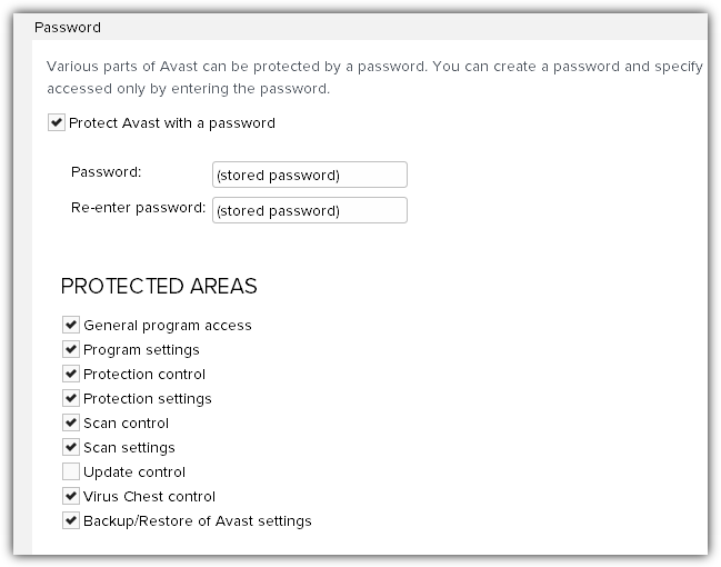 option to enable avast protected areas