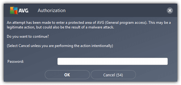 avg password authorization dialog