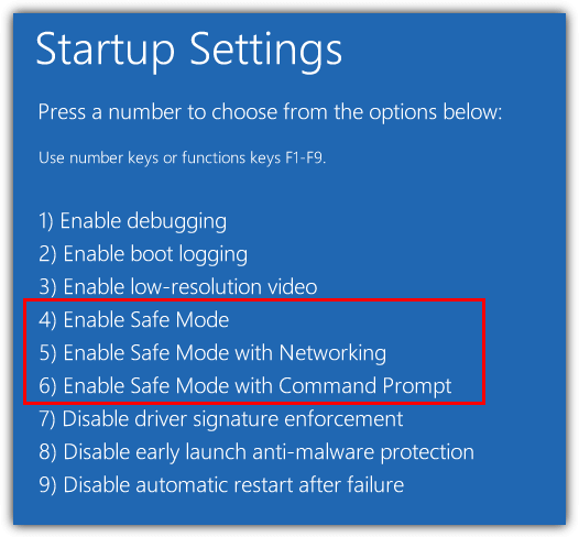 enabled safe mode in windows 10