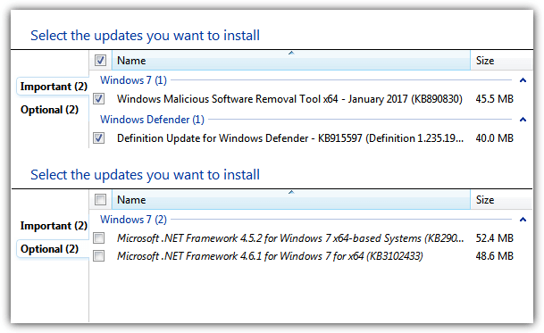 updates available after integration