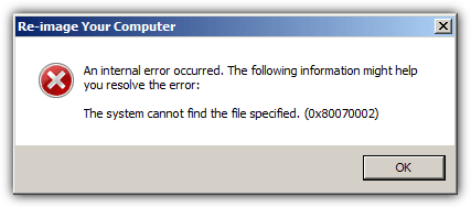 system cannot find the file specified 0x80070002