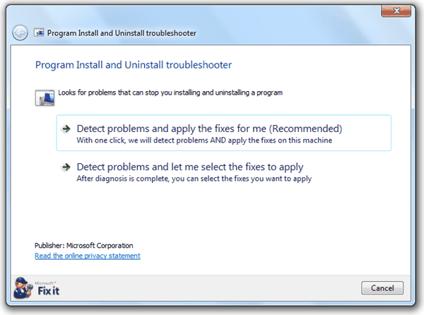 Program Install and Uninstall Troubleshooter Tool