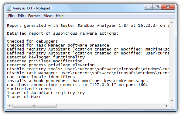 Buster Sandbox Analyzer Analysis