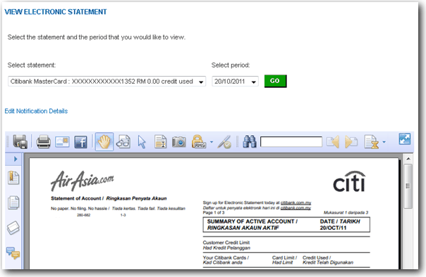 View Citibank statement with Foxit Reader