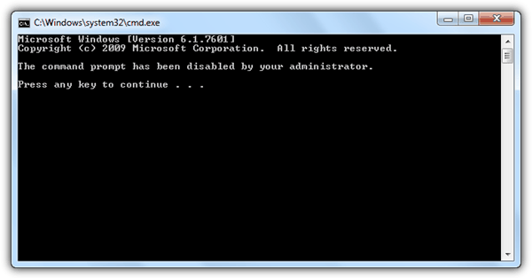command prompt disabled