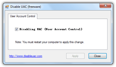 Disable UAC