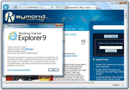 Download Internet Explorer 9 standalone