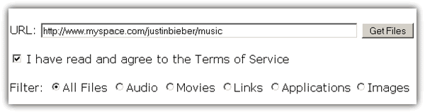 Download justin bieber's myspace mp3