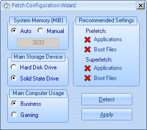Fetch configuration wizard