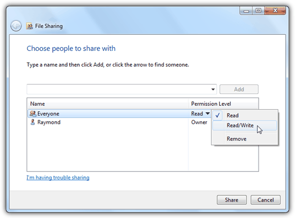 File Sharing Everyone Permission