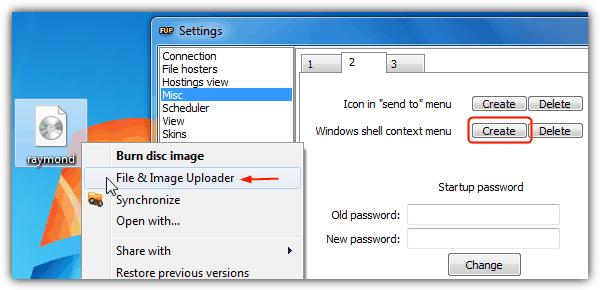 FileUploader Context Menu