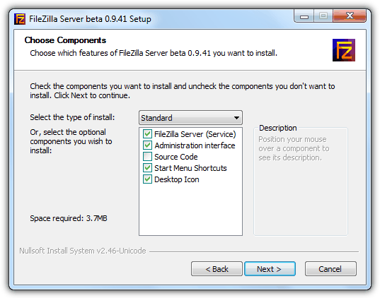 FileZilla Server Standard Installation