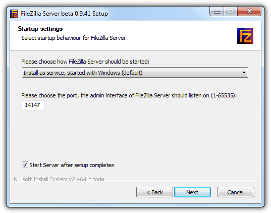 FileZilla Server Startup Method