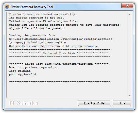 Firefox Password Recovery Tool