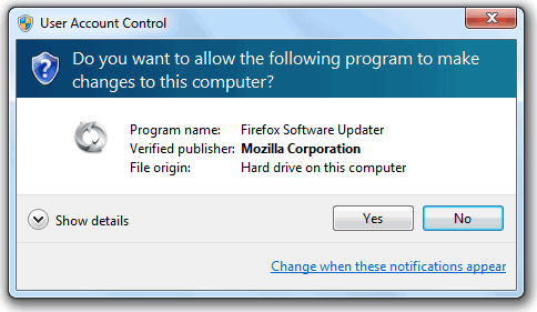 Firefox User Account Control