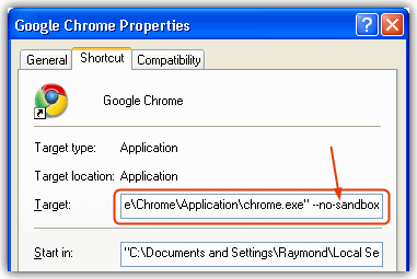 chrome nosandbox shortcut