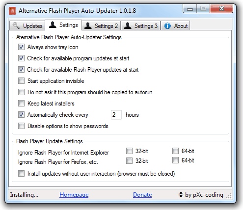 Alternative Flash Player Auto-Updater Settings