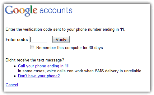 Gmail Enter Verification Code