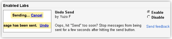 Gmail Undo Send Email