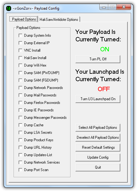 GonZor Payload Config
