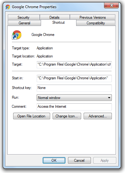 Google Chrome in Program Files Folder