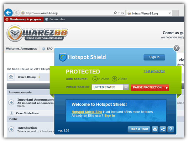 Hotspot Shield access blocked site