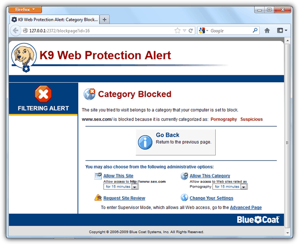 K9 Web Protection Alert