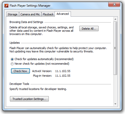 Flash Player Settings Manager