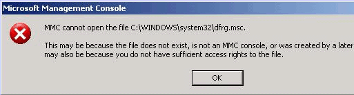MMC cannot open the file C:\Windows\system32\dfrg.msc