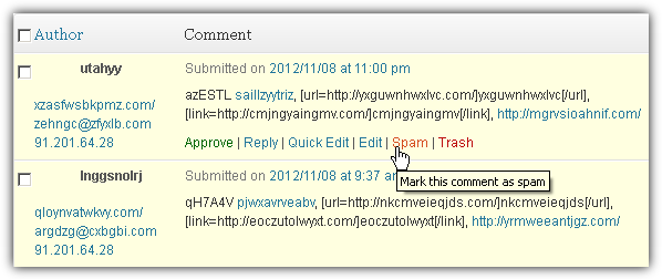 Wordpress Moderate Comments