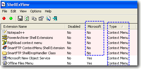 Third party context menu