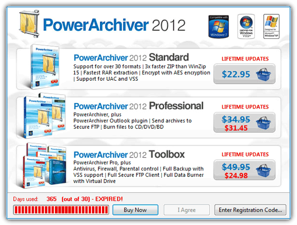 PowerArchiver Nag Screen