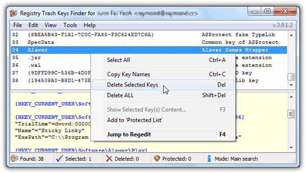 Registry Trash Keys Finder Full version