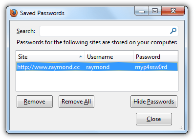 Show Firefox Saved Password