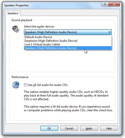 Windows Media Player Sound Playback