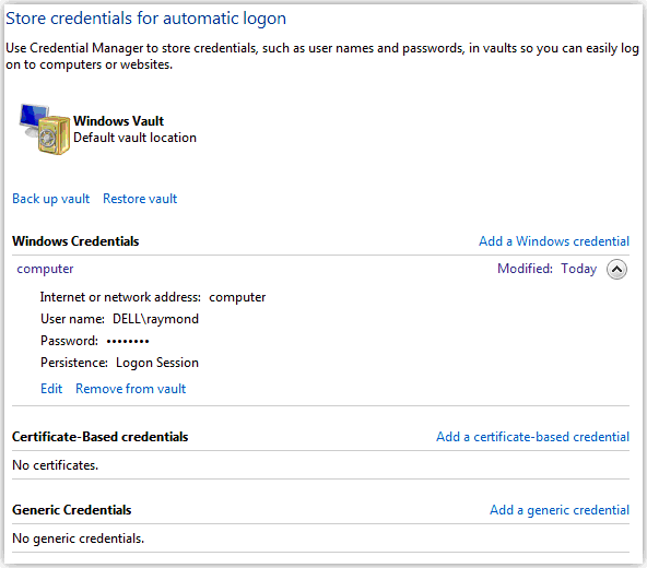 Store Credentials for Automatic Logon