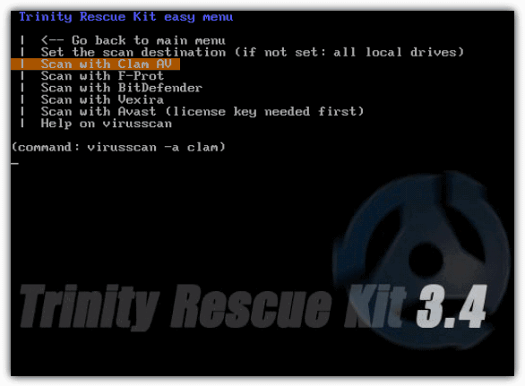 Trinity Rescue Kit Virus Scanning
