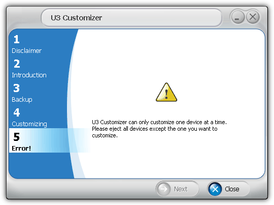 U3 Customizer can only customize one device at a time
