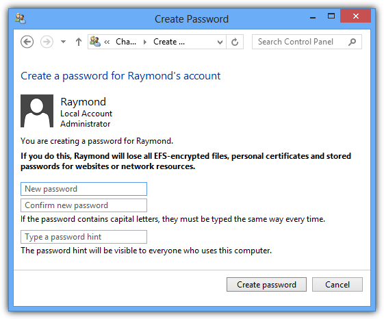 Create a password in Windows 8