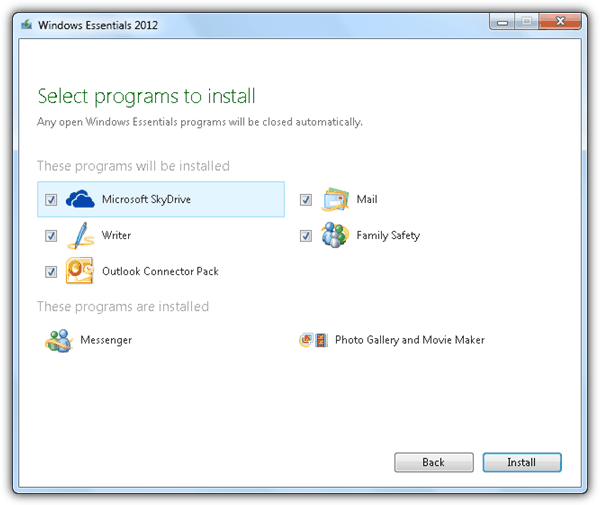 Windows Essentials 2012 Installer