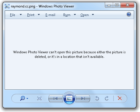 Windows Photo Viewer can't open this picture because either the picture is deleted, or it's in a location that isn't available.